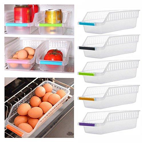 van-guard Boîte en Plastique conteneurs de bacs de Rangement pour réfrigérateur congélateur et de Cuisine (Lot de 5pcs, Couleur aléatoire)