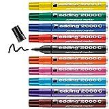 Edding 2000 C marcador permanente - multicolor - 10 rotuladores universales - punta redonda 1.5-3mm - indeleble de secado rápido - resistente al agua y a los borrones - cartón, plástico, madera, metal