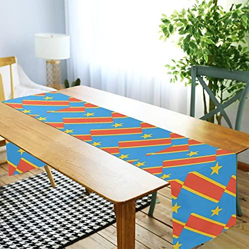 LORDWEY Kongo Kinshasa Flagge Tischläufer, rutschfeste hitzewiderstandsfähige Tischdecke für Esstisch Party 45,7 x 182,9 cm