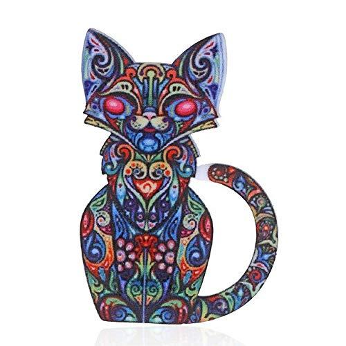 Broche de perro acrílico para mujer, broche de gato, alfileres de cuello, ramillete, estampado bohemio, broche étnico de animales para mascotas, insignias, accesorios de joyería-gato