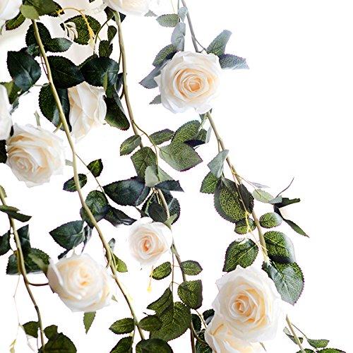 ZUMUII Butterme Rosas artificiales, enredaderas, 1 unidad, aprox. 2 m, flores artificiales, para oficina, recibidor del hotel, bodas, fiestas en jardines, artesanía, decoración de arte
