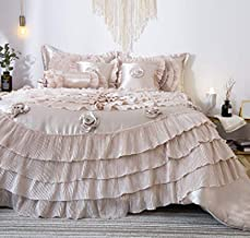 Tache 6 Piece Elegant Fancy Victorian Frosted Fields Faux Satin Luxury Ruffled Comforter Bedding Set, Califorina King