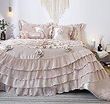 Tache 6 Piece Elegant Fancy Victorian Frosted Fields Faux Satin Luxury Ruffled Comforter Bedding Set, Califorina King