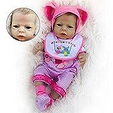 CHUTD Simulation Doll Reborn Baby, 22'Baby Doll Kurzes Haar Braune Haut mit einteiligem Anzug und Schnullerpuppe Nettes Spielhaus