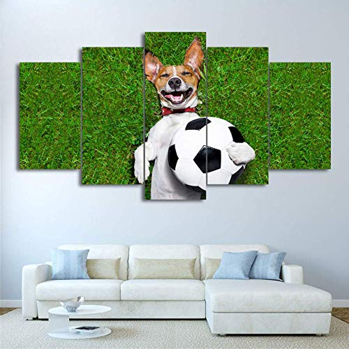 5 Canvas Paintings Large Poster HD Printed Canvas Print 5 Piece Football Painting Dog Playing Pictures Gym Home Decor Wall Art For Living Room(No Frame) (WX107)
