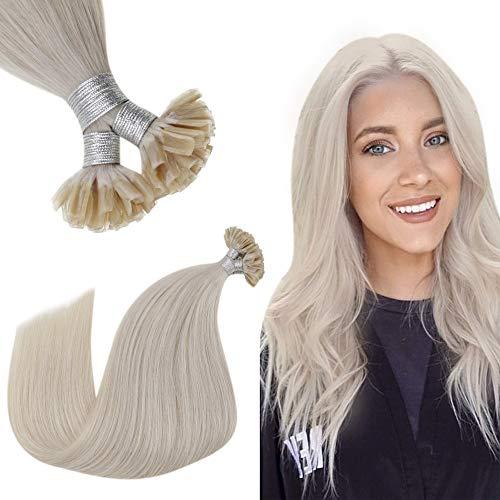 Hetto U Tip Hair Extensions Human Hair Blonde U Tip Keratin Human Hair Extensions Real Remy Straight Hair Hot Fusion Hair Extensions 14 Inch 50g 50 Strands