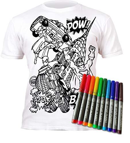Splat Planet - Camiseta de superhéroe con 10 bolígrafos mágicos Lavables no tóxicos (9-11 años)