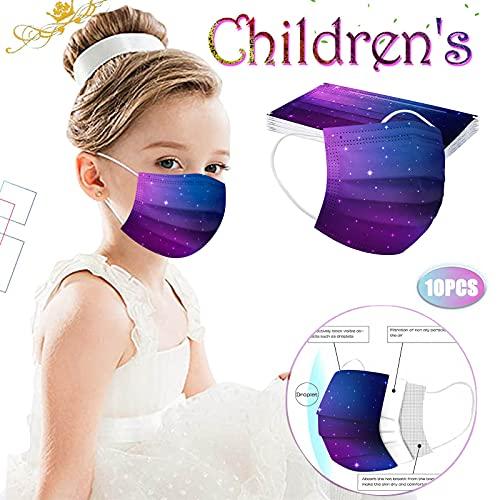 Má_SCA_RAS_faciales Transpirables con Estampado De Cielo Estrellado para Niños, Paquete De 10 De_sechables De 3 Capas para Niños Y Niñas
