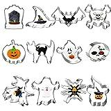 Gxhong Halloween Formine Biscotti, 12 Pezzi Biscotti a Forma di Zucca/ Gatto Nero/ Teschio/ Ragni/ Pipipistrelli Formine, Halloween Fondant Cutter per Biscotti, Pasticceria