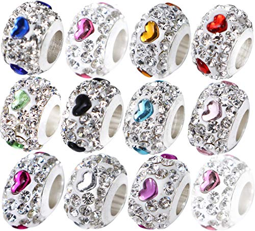 x 12 Pcs Silver Crystal Heart Charms Beads for Jewellery Making Bracelets Necklaces with Gift Box - UK Brand, UK Quality Every Time