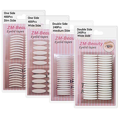 4 Pack/960Pcs Natural Invisible Single/Double Side Eyelid Tapes Stickers, Medical-use Fiber Eyelid Strips, Instant lift Eye Lid Without Surgery, Perfect for Hooded, Droopy, Uneven, Mono-eyelids