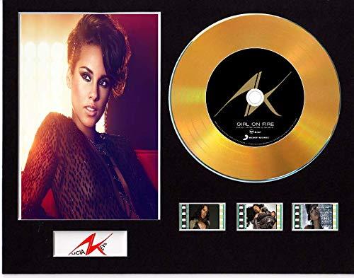 Alicia Keys - Pantalla de CD con efecto vinilo, disco negro o dorado y 3 celdas de película (disco dorado, chica en fuego sin marco)