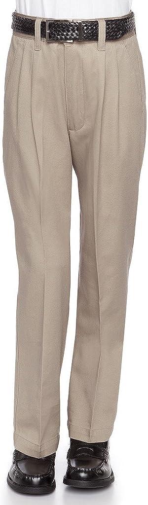 AKA Boys Pleat-Front Traditonal Fit Back Elastic Cotton Twill Pants