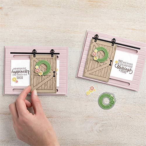 4.5 by 6.5 Inches Flower Rectangle Frame Door Metal Cutting Dies for Scrapbooking Card Making Christmas Craft Dies (JA091507)