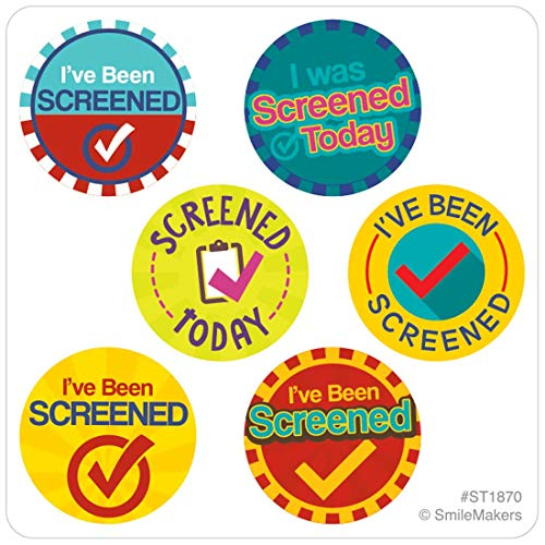 SmileMakers I've Been Screened Mini Dot Stickers - Coronavirus COVID-19 Supplies - 200 Sheets per Pack