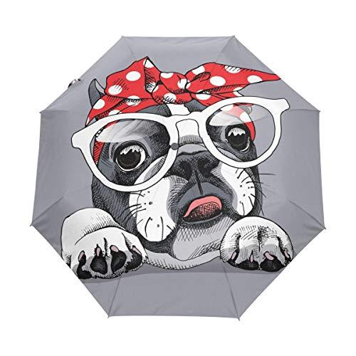Franse Bulldog in Hoofdband Bril Auto Open Sluiten Opvouwbare Reizen Paraplu