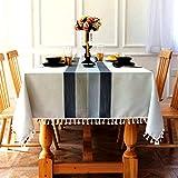 SUNBEAUTY Tischdecke Leinen Baumwolle Tischtuch Abwaschbar Elegant Tischwäsche Rechteckige Tafeldecke 140x240 cm für Home Küche Speisetisch Dekoration