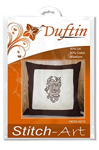 Duftin 19625-AZ15 - Kit de Punto de Cruz contado para Funda de cojín, Lino y algodón, 40 x 40 cm, diseño de Inicial, Color marrón
