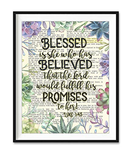 Blessed Is She Who Has Believed that the Lord Would Fulfill His Promises to Her, Luke 1:45, Christian Art Print, Unframed, Vintage Bible Page Verse Scripture Wall and Home Decor Poster, 8x10 Inches