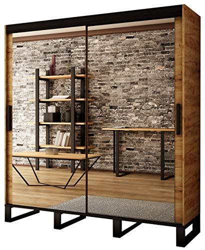 Kryspol Schwebetürenschrank LOFT T3 Kleiderschrank mit Metallbeinen und Einlegeboden Schlafzimmer- Wohnzimmerschrank Schiebetüren im Industrie-Stil (200)