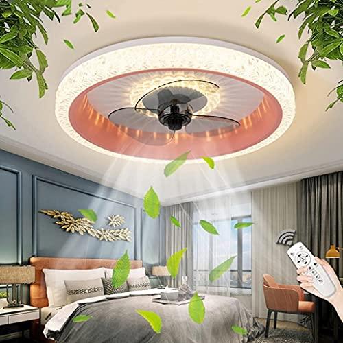 WJLL Reversible Led Ventilador de Techo con Luz y Mando Silencioso 6 Velocidades Dormitorio Ventilador con lámpara de Techo Moderno Regulable Sala 50cm Ventilador de Techo con Temporizador,Rosado