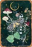 BIGYAK Cartel decorativo de hierro con diseño de champiñones y mariposas, estilo vintage, 20 x 30 cm, para el hogar, cocina, baño, granja, jardín, garaje, citas inspiradoras, decoración de pared