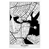 artboxONE Poster 45x30 cm Städte Helsinki map minimal -
