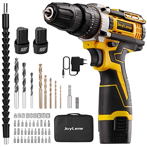 JayLene 12V Cordless Drill Set,Power Drill 59Pcs with 3/8 Inch Keyless Chuck,25+3 Clutch Electric Drill with Work Light(Max torque 28Nm,2-Variable Speed & 2 Batteries and Fast Charger)