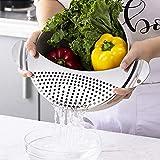 Colador de ollas, de acero inoxidable, tamiz de olla con asas, resistente al calor, colador de alimentos para verduras, frutas, fideos, pasta, aceite de agua, buen tamiz de cocina, fácil de limpiar
