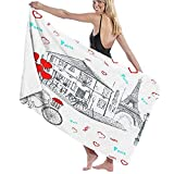 Beach Bath Towel,Set of Hand Drawn French Icons Paris Sketch,Lightweight Beach Blanket Absorbent Quick Dry Cool Pool Beach Swim Towels for Picnic Travel Hike