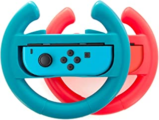 Switch Wheel, Lammcou Joy Con Racing Steering Wheel Handle Grip for Nintendo Switch Controller in Nintendo Switch Games Mario Kart 8 Deluxe,Gear.Club Unlimited, Monster Jam Crush It,GRIP -Blue&Red
