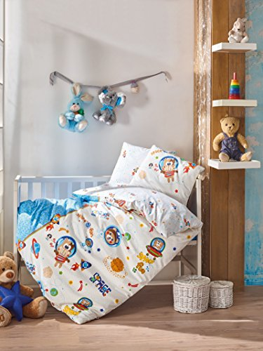 Space Fun Monkey, 100% Cotton Baby Boys Crib Bedding Baby Duvet Cover Set, Made in Turkey - 4 Pieces