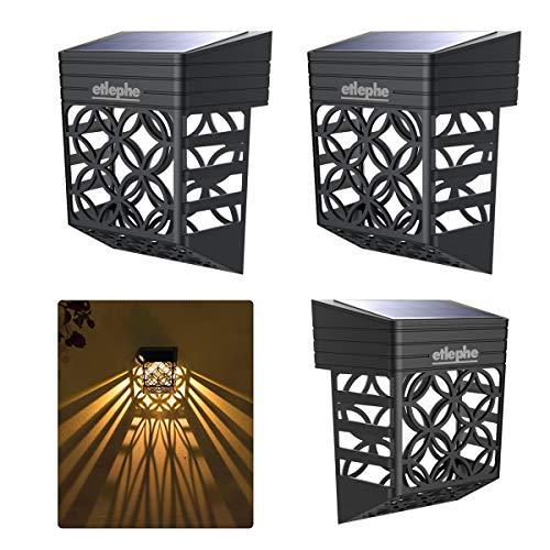 Etlephe Luz Solar Exterior, 4 Unidades LED Iluminacion Exterior Solar Impermeable con Sensor de Luz...