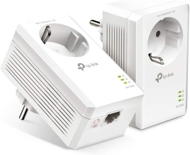 TP-Link TL-PA7019P Kit AV1000 Adaptador de Red Gigabit Powerline con Enchufe Color Blanco 1 Puerto Gigabit, Plug and Play, bajo Consumo, Compatible con Todos los adaptadores Powerline
