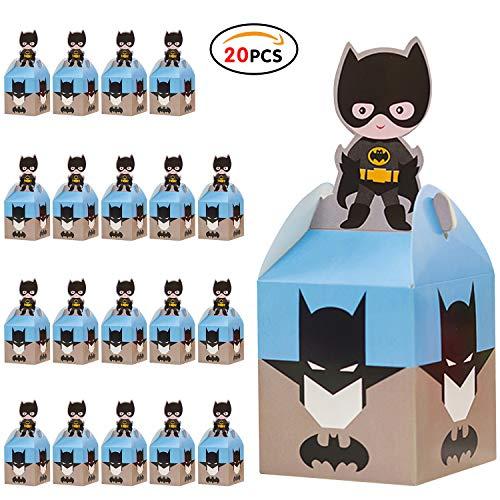 Qemsele Cajas De Fiesta Bolsas de cumpleaños, 20Pcs Regalo Cajas, Cajas de Caramelo Tema Reutilizable Bolsas de Fiesta Bolsas para cumpleaños niños la Fiesta favorece la Bolsa Bolsas Fiesta (Batman)