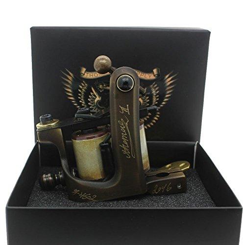 Thomas Coil Shader Tattoo Machine Gun Handmade Brass Frame 10 Wrap Coils