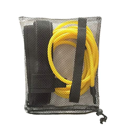 LIOOBO Swim Bungee Training Belt Swim Resistance Belt Swim Exerciser Belt Swim Tether with One Waist Strapk One Loop One Mesh Bag (6x9x4m Yellow)