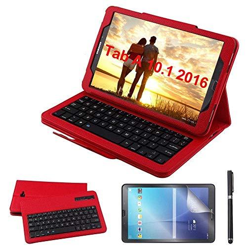Custodia Galaxy Tab A 10.1 Bluetooth Tastiera con screen protector & stylus, REAL-EAGLE Pelle PU Custodia con Wireless Staccabile Keyboard per Samsung Galaxy Tab A6 10.1 2016 SM-T580/T585, Red