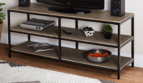 Target Marketing Systems Piazza Collection Modern Reclaimed Wooden TV Stand With Open Shelves, Wood/Metal