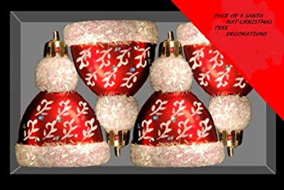 Pack of 4 Santa Hat Christmas Tree Baubles