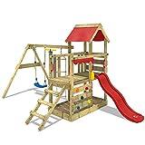WICKEY Aire de jeux Portique bois TurboFlyer avec balançoire et toboggan rouge, Maison enfant exterieur avec bac à sable, échelle d'escalade & accessoires de jeux