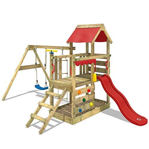 WICKEY Spielturm Klettergerüst TurboFlyer mit Schaukel & rote Rutsche, Spielhaus mit Sandkasten, Kletterwand & viel Spiel-Zubehör