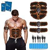 【GUÍA ALIMENTARIA INCLUIDA】 Electroestimulador Muscular Abdominales, Estimulación Muscular, Masajeador Eléctrico, Cinturón Adominal, Brazos/Piernas/Glúteos, 12 Gel (6 Pack*2 PCS)