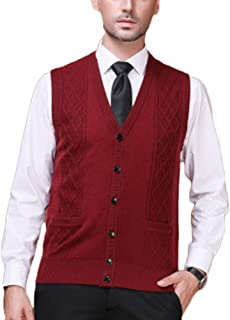 Father Mens Gilet V-Neck Sleeveless Vest Knitwear Cardigans Knitted Waistcoat Sweater Tank Tops with Buttons