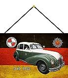 FS Polizei Auto DDR Eisenacher 340 1952 Volkspolizei Blechschild Schild gewölbt Metal Sign 20 x 30 cm mit Kordel