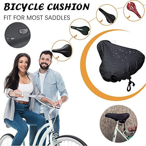 MerryWould Cubierta de sillín de Bicicleta,Funda Impermeable para Asientos de Bicicleta Impermeables con cordón Funda Impermeable y Resistente al Polvo (Negro)