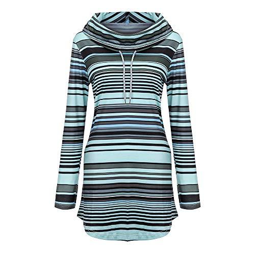 iHENGH Damen Frühling Sommer Top Bluse Bequem Lässig Mode Frauen Blusen Langarm Stripe Pockets Cowl Neck Pullover Sweatshirt Bluse Tops(Grau, XL)