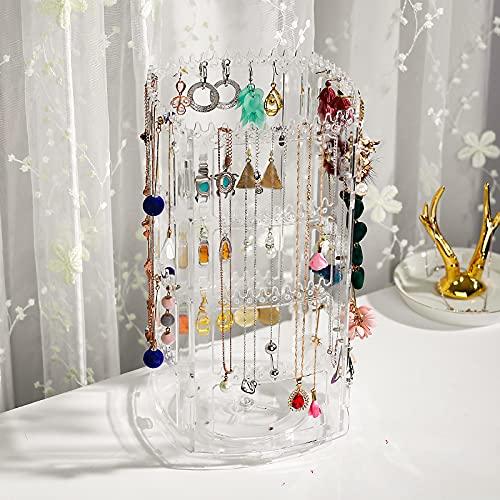 MUY Net Collar Giratorio Pendientes Pendientes Pendientes Caja de Almacenamiento de Joyas Soporte de exhibición para el hogar Colgador de joyería de Mano Día de San Valentín para Mujeres