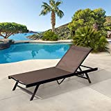 Pellebant Adjustable Aluminum Patio Chaise Lounge Chair, 5 Positions and Lay Flat, Outdoor Recliners Lounger, All Weather Furniture for Beach, Pool and Yard, Brown