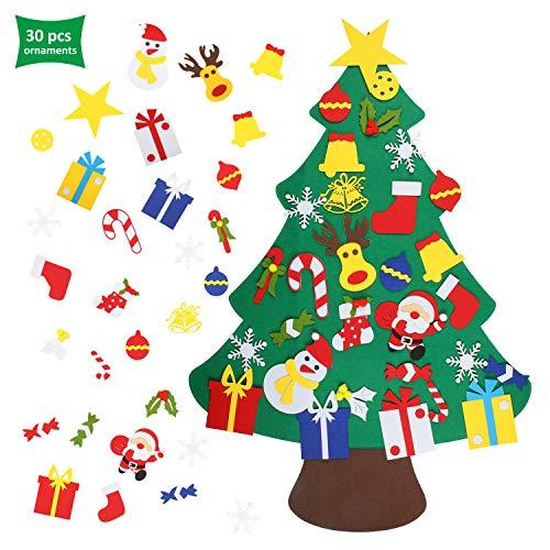 EKKONG Filz Weihnachtsbaum Set Edition 30 Pcs Ornamente Wand Dekor Für Kinder Weihnachten Geschenk Home Tür Wand Dekoration